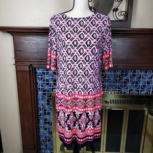 Eliza J Pink Navy Zipper Sheath Dress